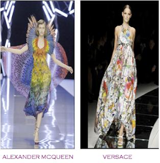 Dos diseños pasarela que podrían considerarse obras pictóricas, cuadros. Alexander McQueen - Versace