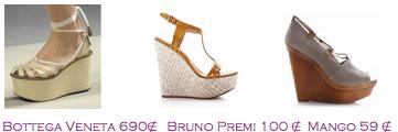 Comparativa precios 2010: Cuñas esparto cintas: Bottega Veneta 690€ - Bruno Premi 100€ - Mango 59€