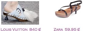 Comparativa precios 2010: Zuecos mini: Louis Vuitton 840€ - Zara 59,95€