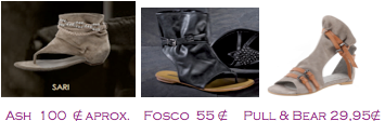 Comparativa precios 2010: Sandalias planas militares: Ash 100€ aprox. - Fosco 55€ - Pull&Bear 29,95€