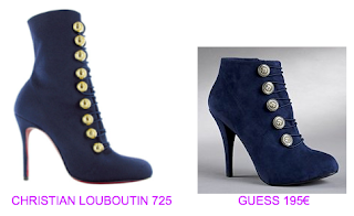 Botines monedas Christian Louboutin vs Guess