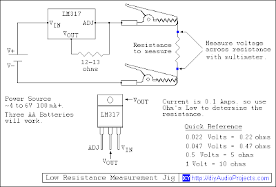 Low Resistance Test Jig Schematic with LM317