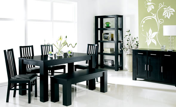 Exellent home design modern dining room for Black dining room furniture