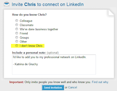 Are you on linkedin blacklist check out the tips to help you stay see the page below which asks you about the source of your connection each time you hit an invite button stopboris Images