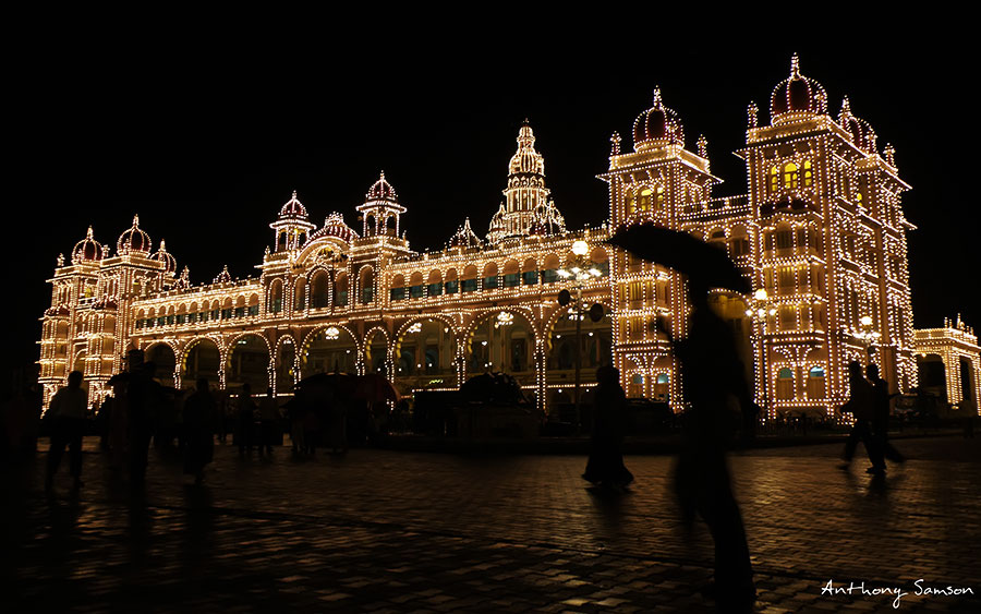 Mysore palace lit with thousands of light bulbs