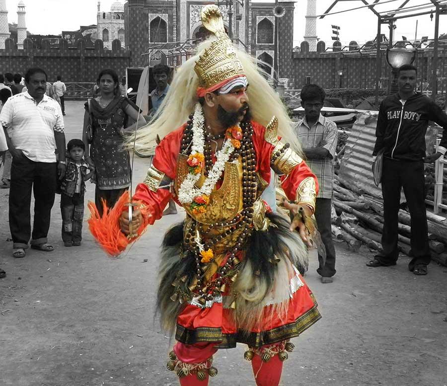 Artist performing Veeragasi during Dasara celebration 2010