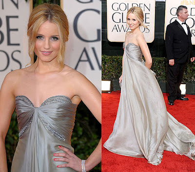 Actresses Dianna Agron, left, and Anna Paquin attend the Audi Golden Globes