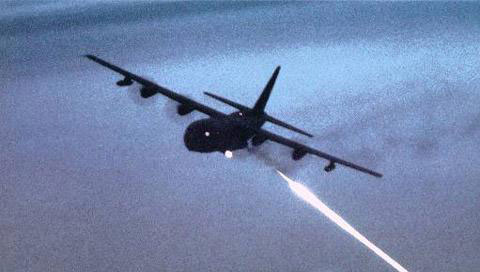 The Lockheed AC 130 gunship is
