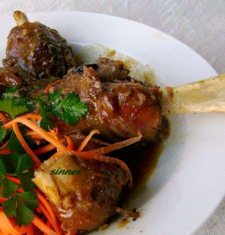 Asian flavoured braised lamb shank