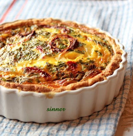 ham, cheese and sun dried tomato quiche