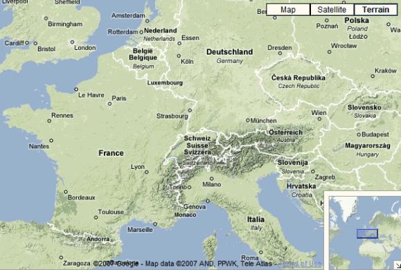 google maps terrain