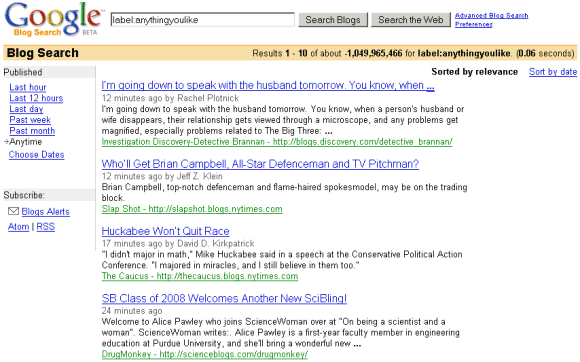 google blog search. How Google Blog Search ranks