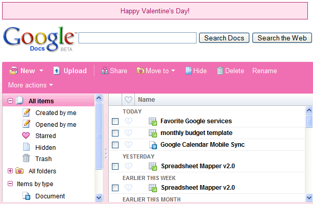 Google Docs Pink Theme