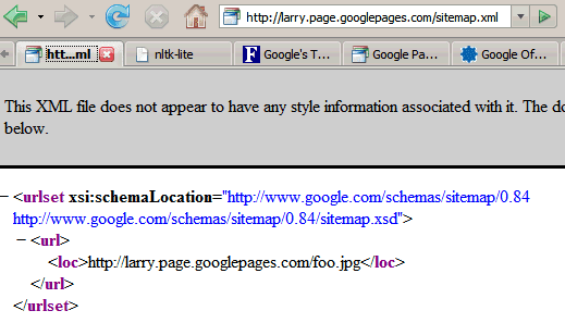 google page creator s sitemap and feed