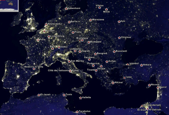 Earth at night and earth city lights a layer that shows the intensity of light at night for all the cities in the world heres a part of europe and some context gumiabroncs Gallery