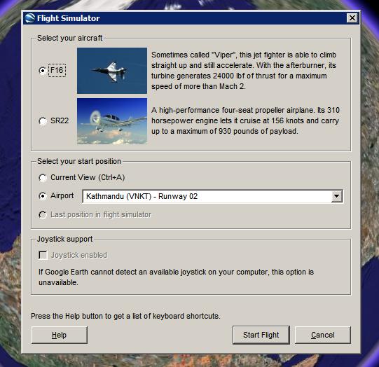 how to start google earth flight simulator