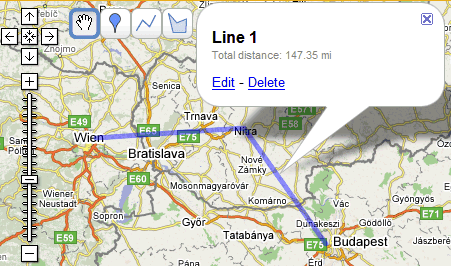 Measuring Distances in Google Maps on
