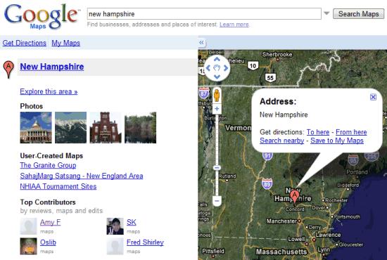 google maps explore sidebar