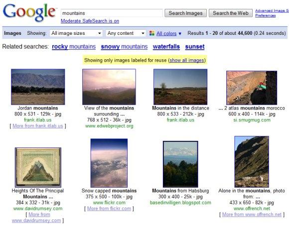 http://images.google.com/images?q=mountains&as_rights=cc_publicdomain
