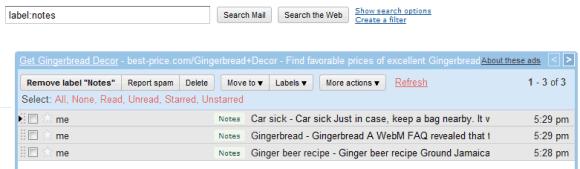 Ansicht in Google Mail: Nach Notizen suchen