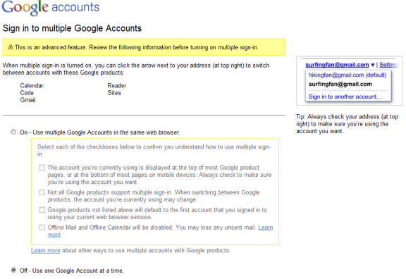 Google multiple sign in now available