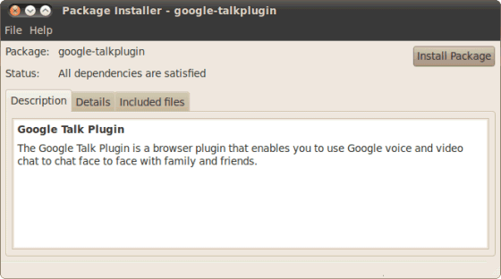 Google-Talk Plugin: Installation (Screen: GoogleOS)