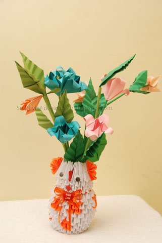 Busy hands nimble fingers oribana flowers and 3d origami vases modular pieces referred to as 3d origami the flowers leaves and stems are simple enough to make and decoratel are just made with a4 colored paper mightylinksfo