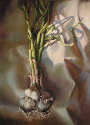 painting local new season garlic oil on canvas