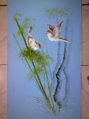 lukisan sepasang burung merpati kode a7