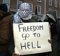 freedom go to hell placard