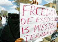 freedom of expression is western terrorism placard