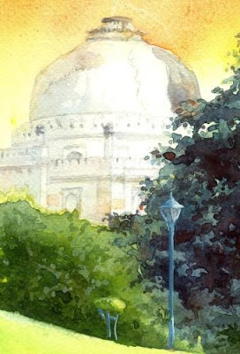detail the evening thinker painting by Gurmeet