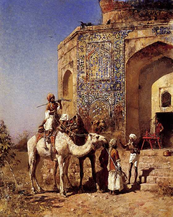 Old Blue Tiled Mosque Outside Of Delhi India by Lord Edwin Weeks 1885