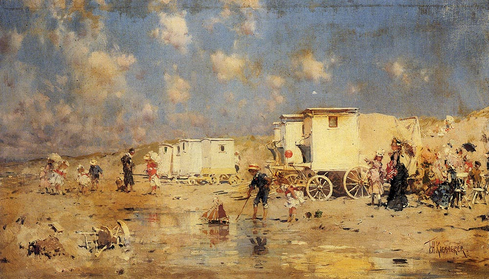 The Beach At Scheveningen, Holland by Frederick Hendrik Kaemmerer