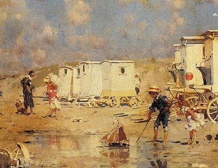 The Beach At Scheveningen, Holland by Frederick Hendrik Kaemmerer a detail