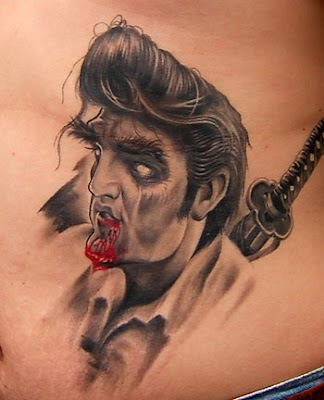 Zombie Elvis Sword Tattoo
