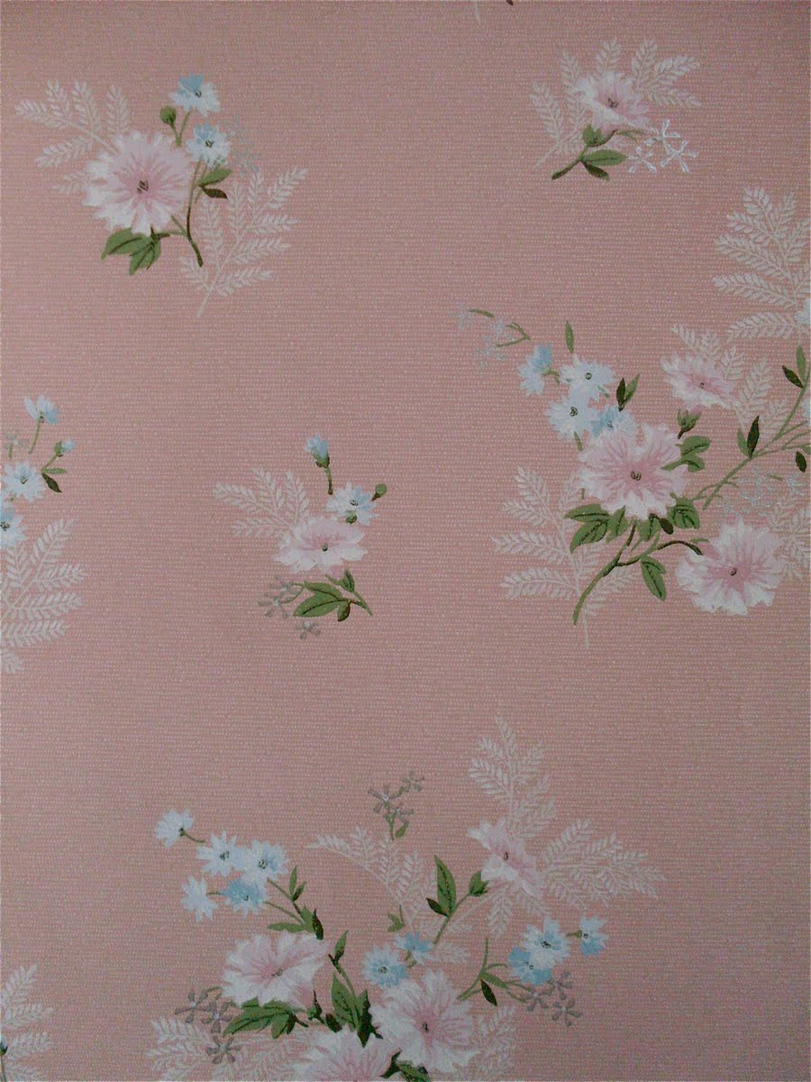 The Haunted Lamp: 1950's Wallpaper: Florals with Pink