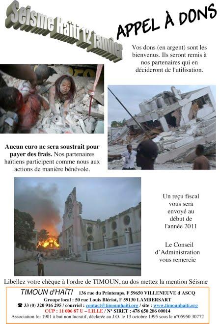 Appel en faveur de notre partenaire Timoun d'Haïti suite au séisme du 12 janvier 2010