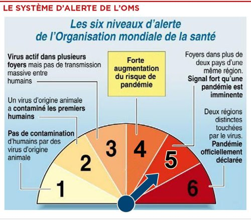 Les 6 niveaux d&#39;alerte de l&#39;OMS