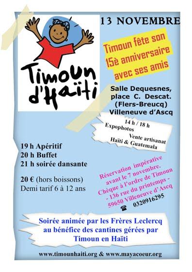 Les 15 ans de Timoun d'Haïti le samedi 13 novembre 2010