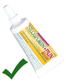 After the alcohol application step is complete, use a small amount of antibiotic ointment.