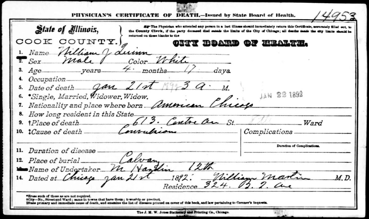 Chicagogenealogy research insights from study and serendipity i recently received a request for help in finding a death certificate for william j quinn it doesnt come up easily in search results at familysearchs 1betcityfo Image collections