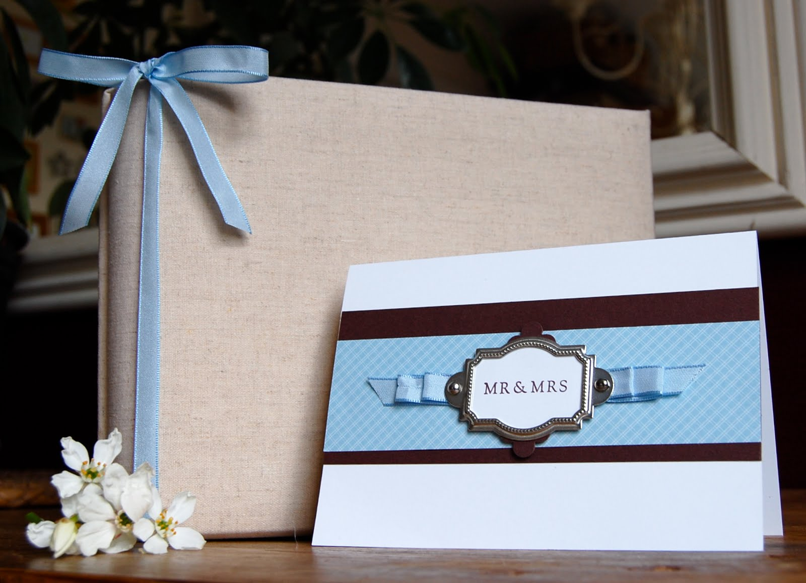 How to scrapbook wedding cards - This Beautiful Linen Bound Photograph Scrapbook Album Tied Up With Some Of The Bashful Blue Taffeta Ribbon Makes A Wonderful Gift And Presenting The Album