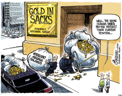 polical cartoon courtesy of Stuart Carlson about the evil of Goldman Sachs investment bank
