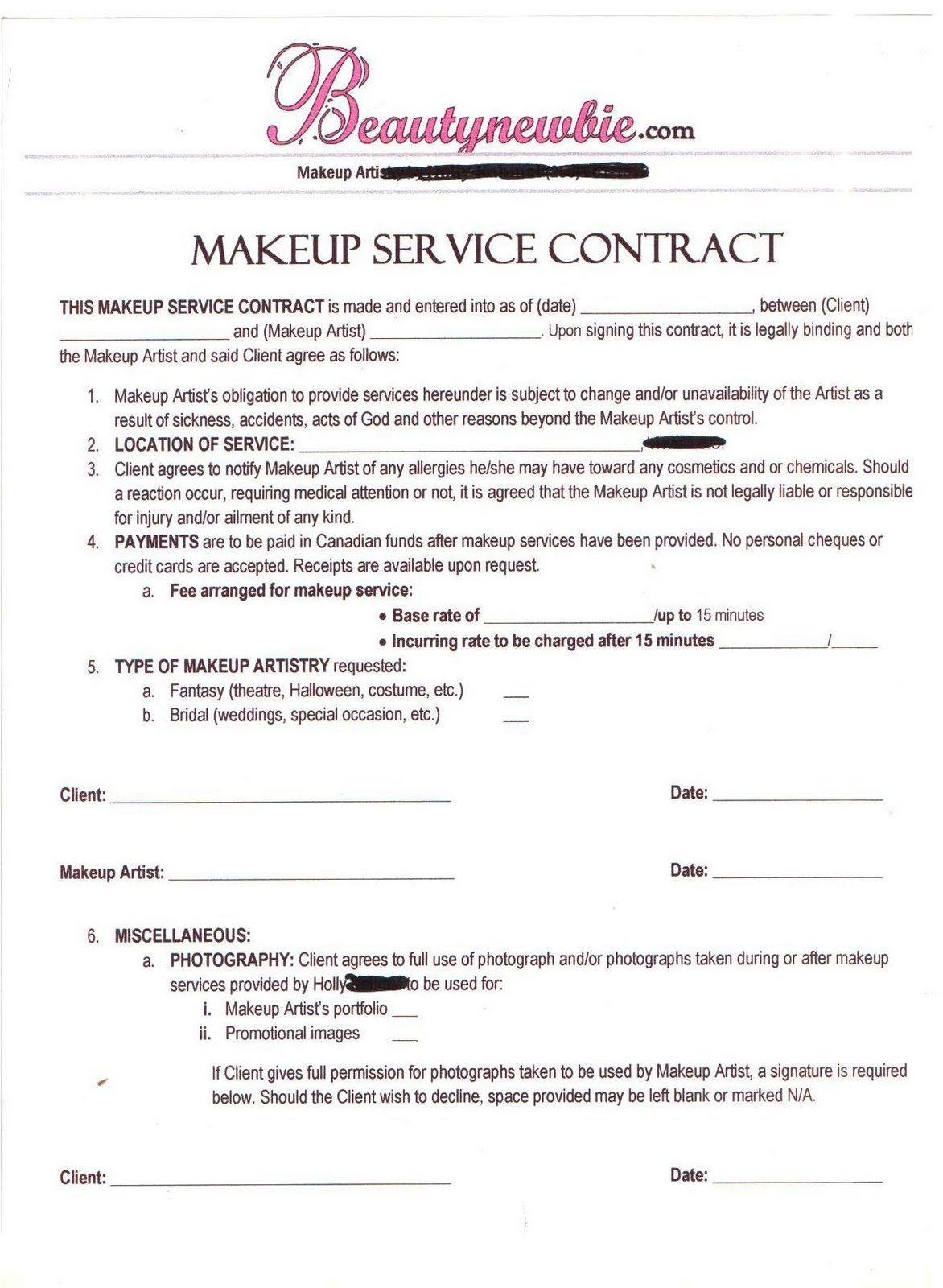 Wedding Hair Stylist Contract Agreement