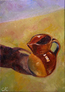 Connie Kleinjans: Original oil painting, Tiny Pitcher, 5x7