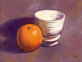 Connie Kleinjans, original oil painting, Orange and Apothecary Bowl, 6x8