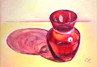 Connie Kleinjans: Original oil painting, Red Glass Vase, 5x7