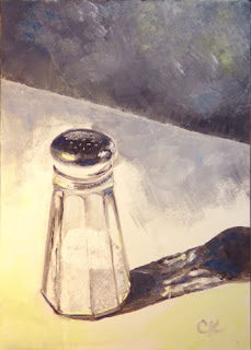 Connie Kleinjans, original oil painting, Salt Shaker, 5x7