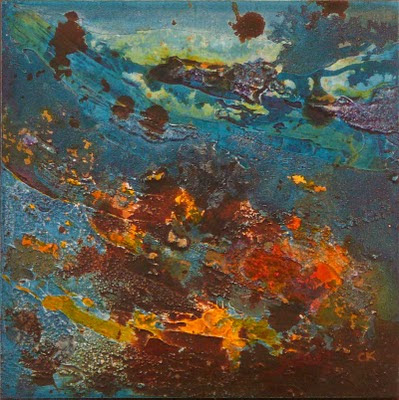 Connie Kleinjans, Swept, 8x8 mixed media on board